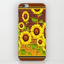 COFFEE BROWN SUNFLOWERS CABIN ART iPhone Skin