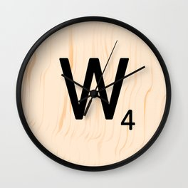 Scrabble Letter W - Scrabble Art and Apparel Wall Clock