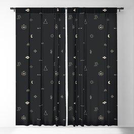 Southwestern Symbolic Pattern in Black & Cream Blackout Curtain