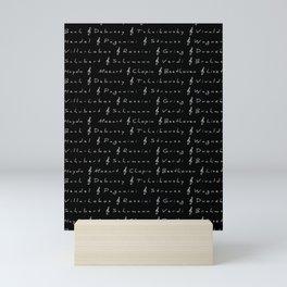 Classical Music Composers, pattern, black bg Mini Art Print