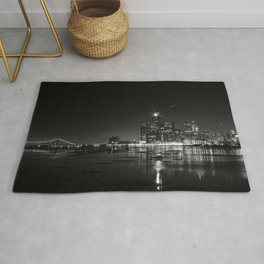 Detroit Skyline at night Rug