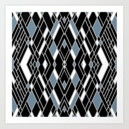 Art Deco Zoom Blue Art Print