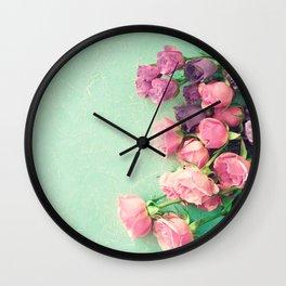Turquoise peonies Wall Clock