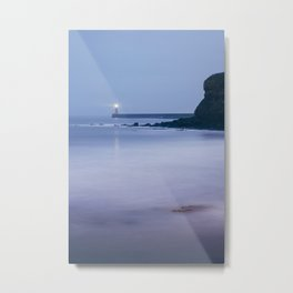 North Pier Lighthouse at dusk twilight. Tynemouth, Northumberland, UK. Metal Print