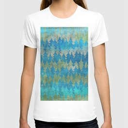 The secret forest - Abstract aqua turquoise Forest tree pattern T-shirt