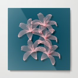 Tiger Lilies in Blue and Pink Metal Print