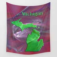michigan Wall Tapestries featuring Michigan Map by Roger Wedegis