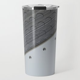 White plate with rivets and circular metal grille Travel Mug