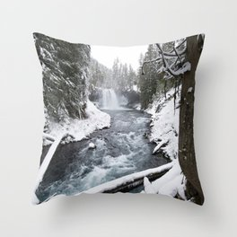 The Wild McKenzie River Waterfall - Nature Photography Throw Pillow