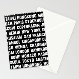 Famous City pattern black & White Stationery Cards