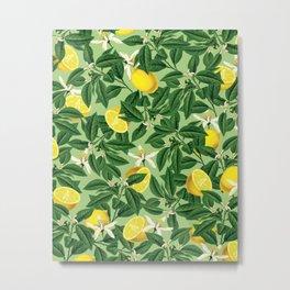 Lemonade Garden, Green Fresh Lemon Botanical Illustration, Vibrant Summer Tropical Fruit Nature Metal Print