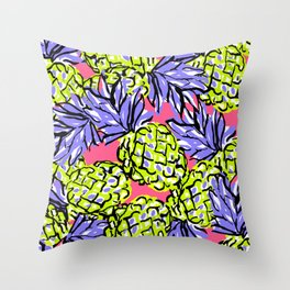 Pineapples on Pink Throw Pillow