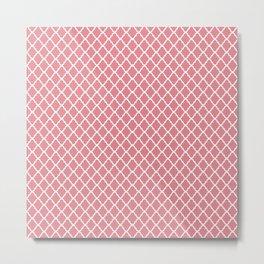 Modern Spring Pink and White Quatrefoil Pattern Metal Print