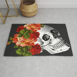 Day of the Dead Black Linen Rug
