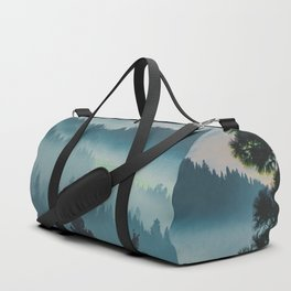 Misty Blue Watercolor Mountains Pine Trees Silhouette Minimalist Monochromatic Photo Duffle Bag