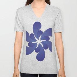 Indigo ombre six-petaled spiral flower Unisex V-Neck