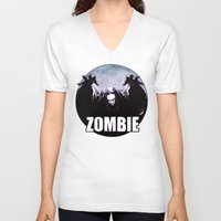 zombie V-neck T-shirts featuring ZOMBIE by Zombie Rust