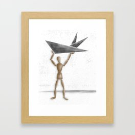 Man With Triangles - Grey Framed Art Print