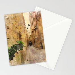 Medieval Narrow Street Tall Buildings Coach Watercolor Stationery Cards