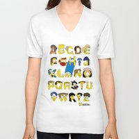 simpsons V-neck T-shirts featuring Simpsons Alphabet by Mike Boon