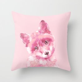Baby Fox in Pink Throw Pillow