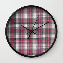 brooklyn red & white - holiday and everyday classic red white plaid check tartan Wall Clock