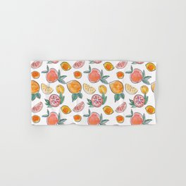 Soft Citrus slices party in my garden_Pink & Teal Green watercolour & ink Hand & Bath Towel