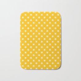 Cream Yellow on Amber Orange Stars Bath Mat