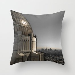 Griffith Park Observatory with Downtown LA Skyline Throw Pillow