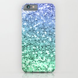 Glitter Sparkling Blue Green Turquoise Teal iPhone Case