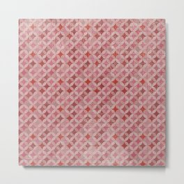 Vintage chic pink red geometrical quatrefoil pattern Metal Print