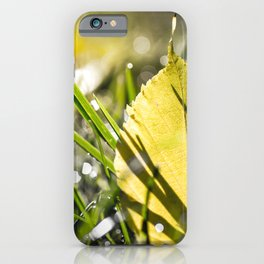 Yellow leaf in grass in autumn with morning dew bokeh iPhone Case