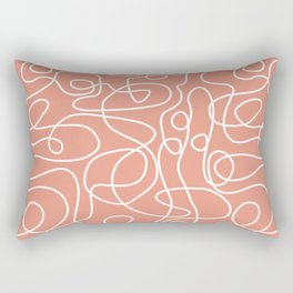 Doodle Line Art | White Lines on Coral Background Rectangular Pillow