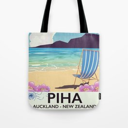 Piha New Zealand vacation poster Tote Bag