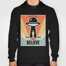 BELIEVE | Vintage Style UFO Alien Abduction Poster Hoody