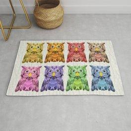Rainbow Owls Rug
