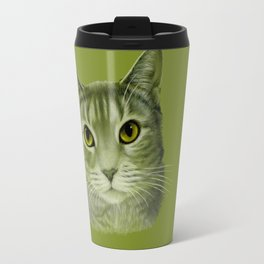 Green cat Travel Mug