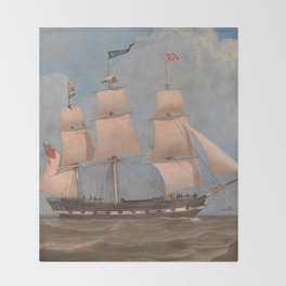 The English Merchant Ship Malabar - William Clark  Throw Blanket