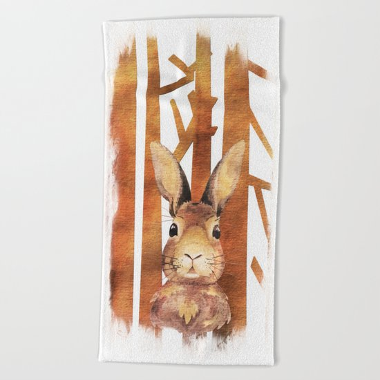 Fast Rabbit in the forest- abstract Hare watercolor Illustration Beach Towel