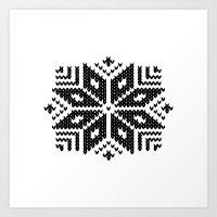 knit Art Prints featuring knit flake by Miranda J. Friedman