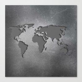 World Map Metal engraved Canvas Print
