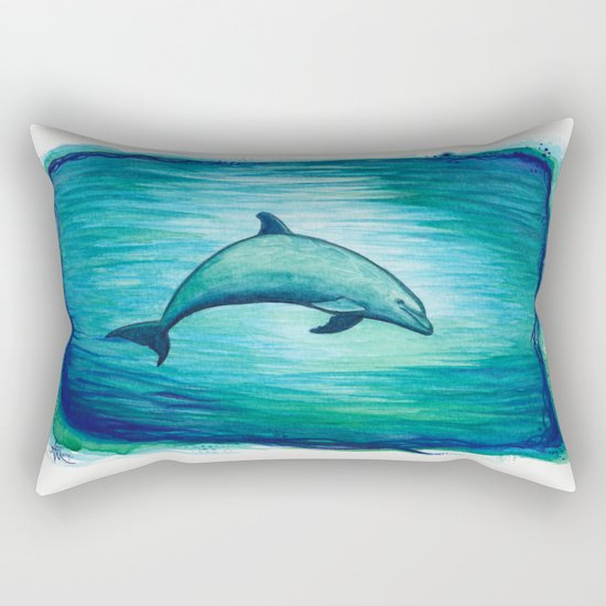"""Indigo Lagoon"" by Amber Marine ~ Watercolor Dolphin Painting, (c) 2015 Rectangular Pillow"