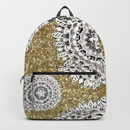 Gold litter and Silver Mandala Patterned Textile Backpack