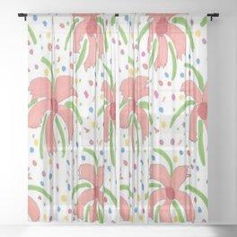 Tropical Fiesta Flowers Sheer Curtain