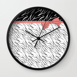 Black and white tiger pattern with pink bow. Wall Clock