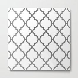 Modern Chic Vintage Abstract Grey White  Moroccan Quatrefoil Pattern Metal Print