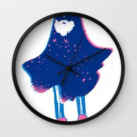 wiz khalifa Wall Clocks featuring The Wiz by Ian O'Phelan