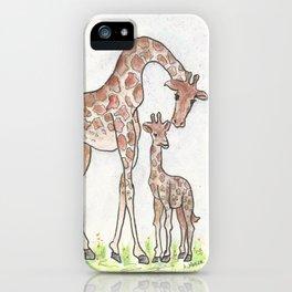 Giraffe and Her Calf iPhone Case