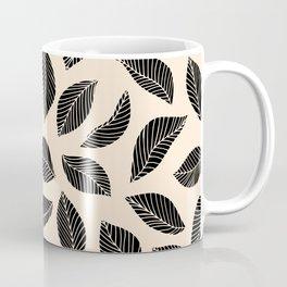 Falling Leaves in black and ivory Coffee Mug