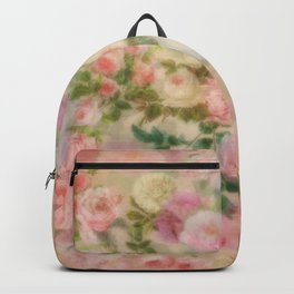 Roses In Pink And White Vintage Garden Flowers Backpack